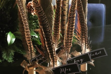 DIY Pheasant Feather Christmas Place Cards