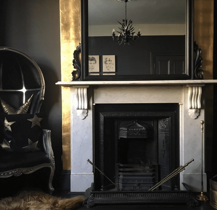 Gold Leaf Fireplace as featured on Mad About The House Blog