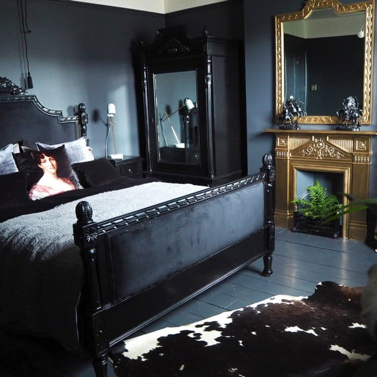 Black Bedroom with Gold Fireplace As Featured on Mad About The House Blog