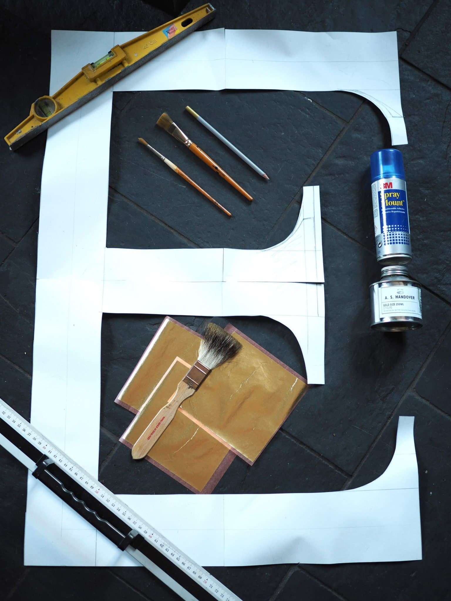 WHAT YOU WILL NEED FOR YOUR DIY GOLD LEAF WALL LETTERS