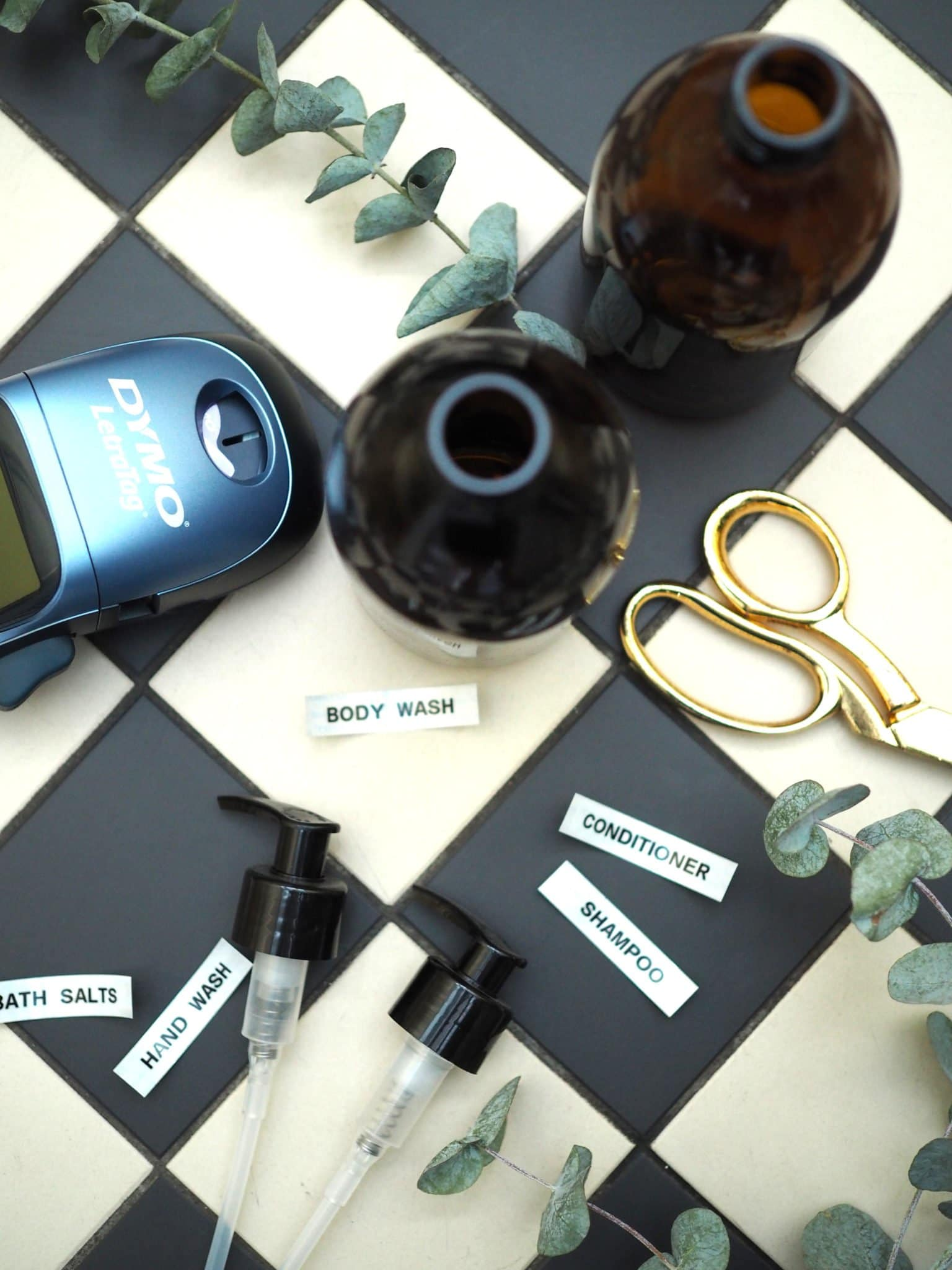 DIY Amber Shampoo Bottles