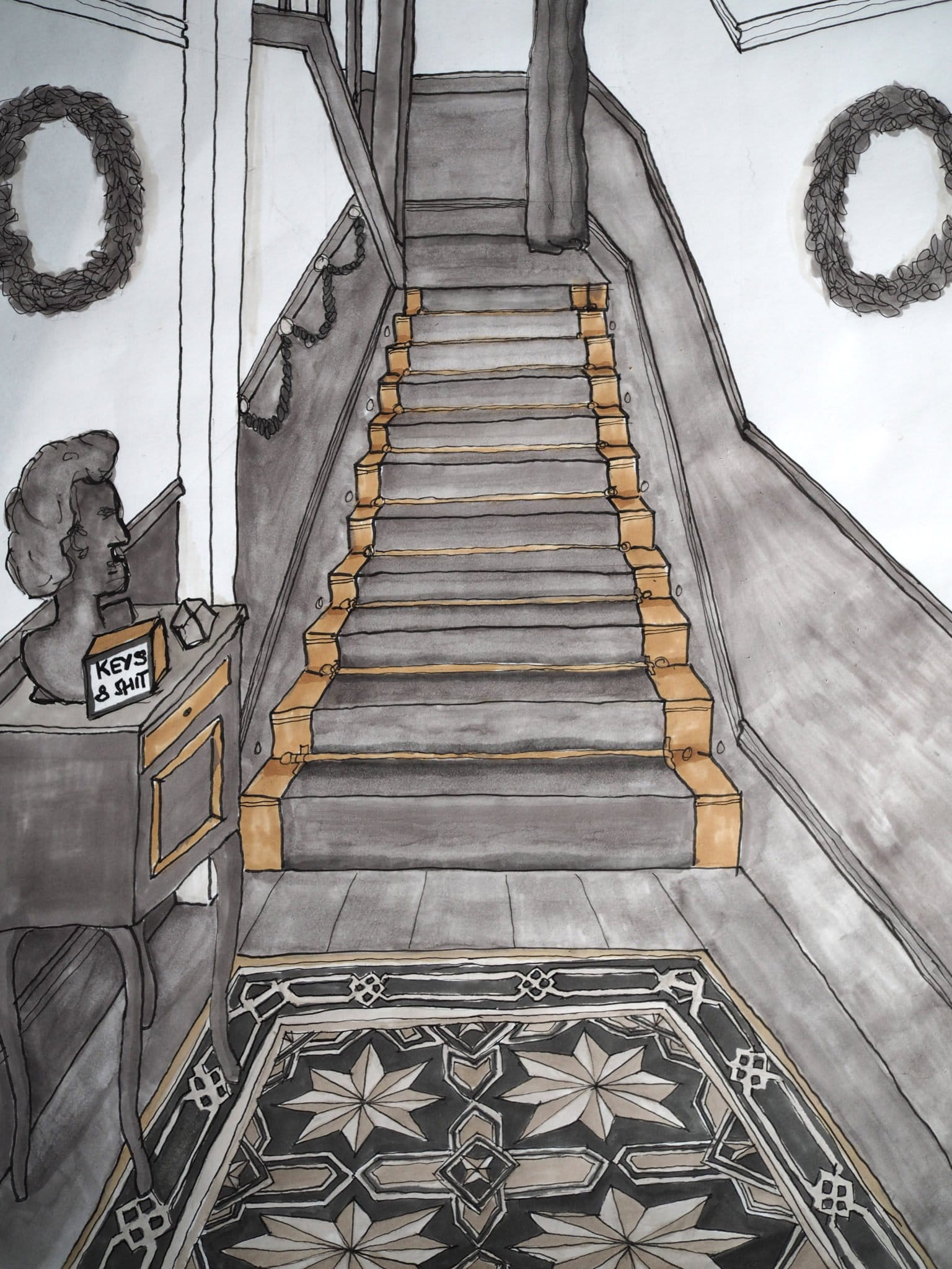 Monochrome Hallway Design Drawing