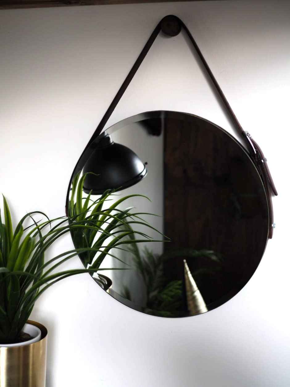 DIY WALL MIRROR WITH LEATHER STRAP AND HANGING KNOB