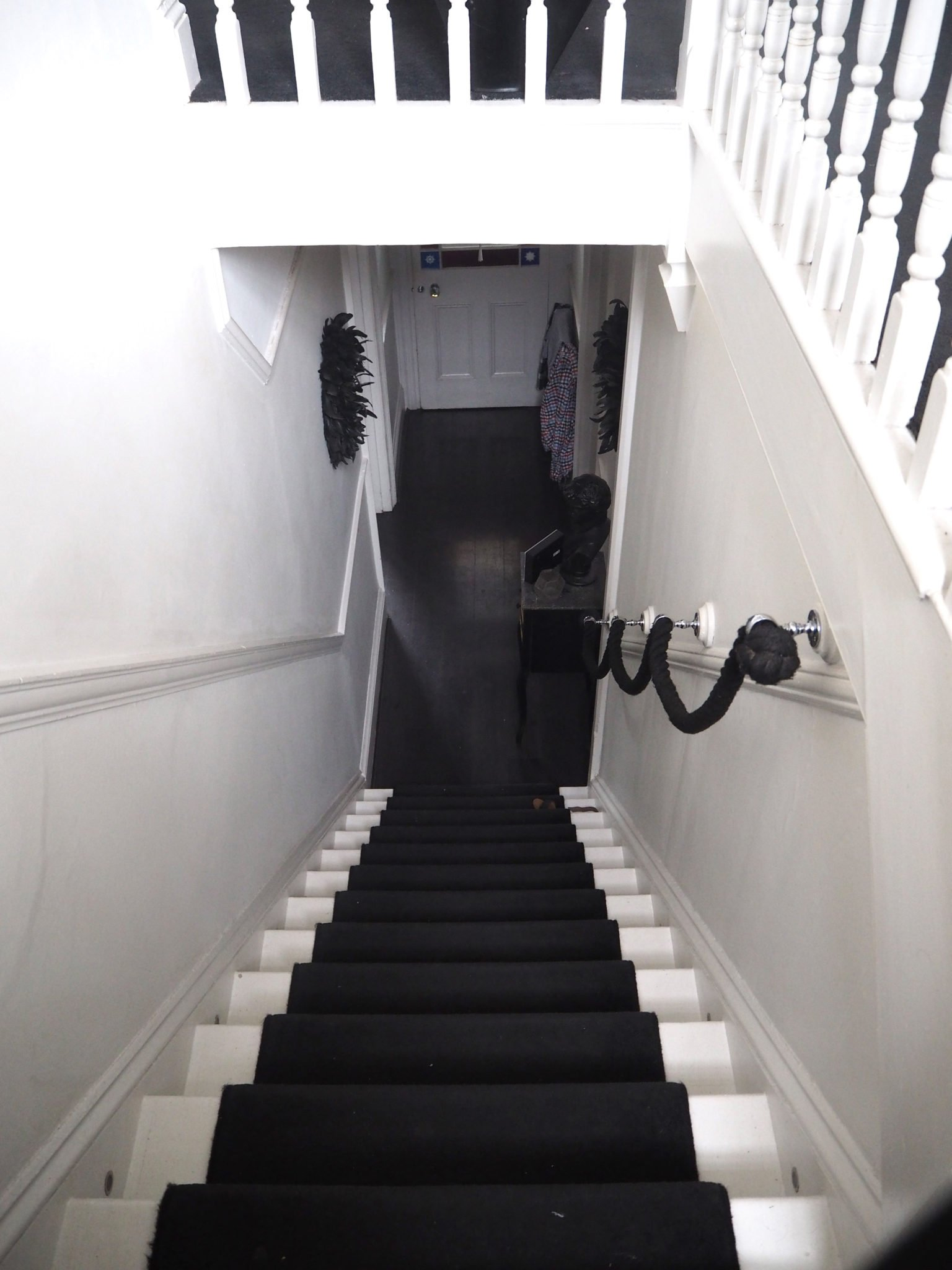 Looking Down The Stairs, it's crying out for my monochrome hallway design