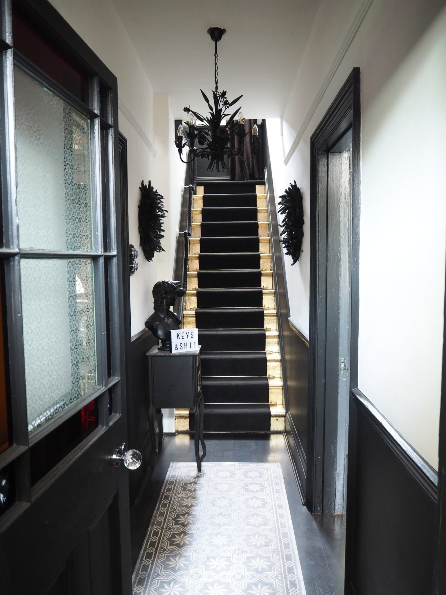 My Monochrome Hallway Makeover Reveal with Gilded Stairs