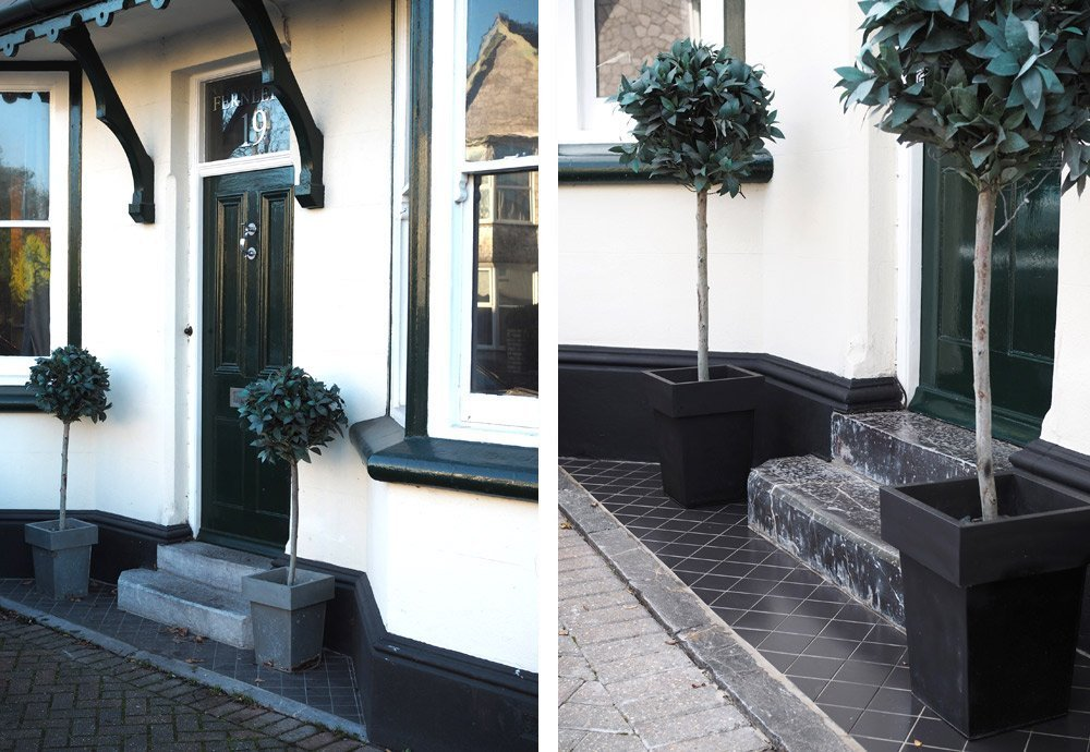 The Front doorsteps before and after