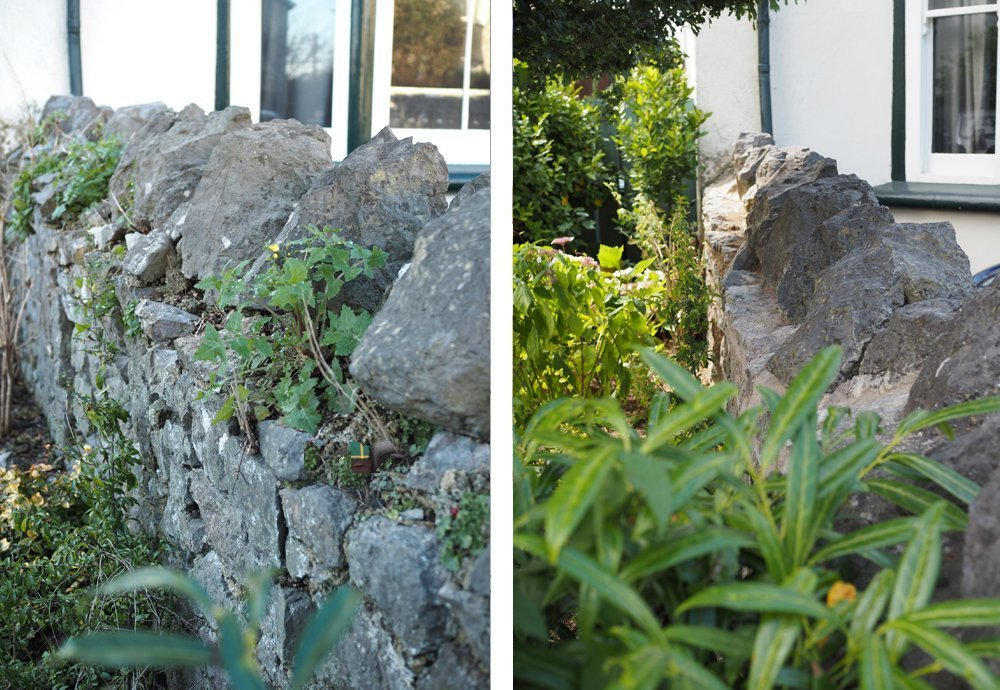 The Garden Wall before and after repointing