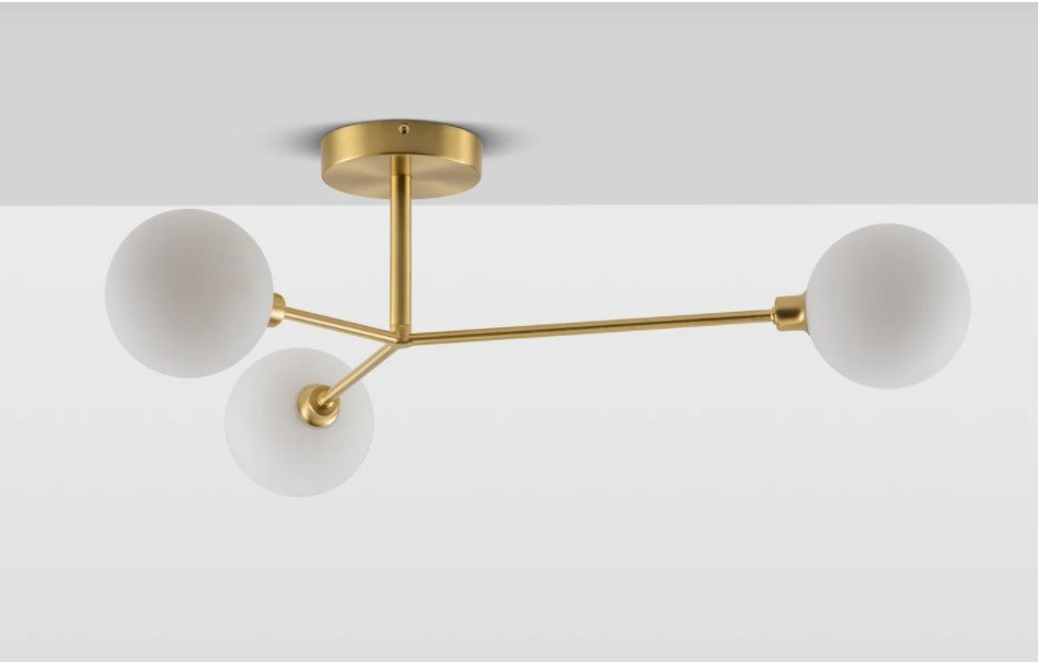 Brass 3 light flush ceiling light