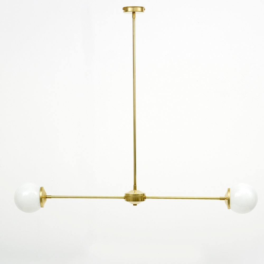 Opal shade T-Bar Brass Pendant Light